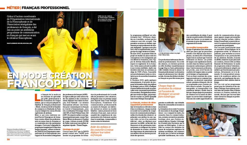 Article « Le français professionnel pour les créateurs de mode » (Le français dans le monde n° 421, janvier-février 2019)
