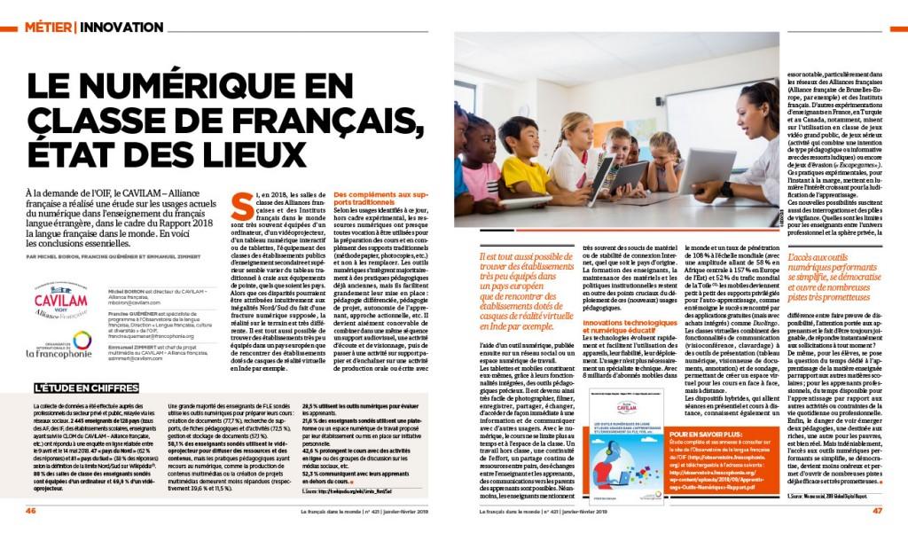 Article « le numérique en classe de FLE : Etat des lieux» (Le français dans le monde n° 421, janvier-février 2019)